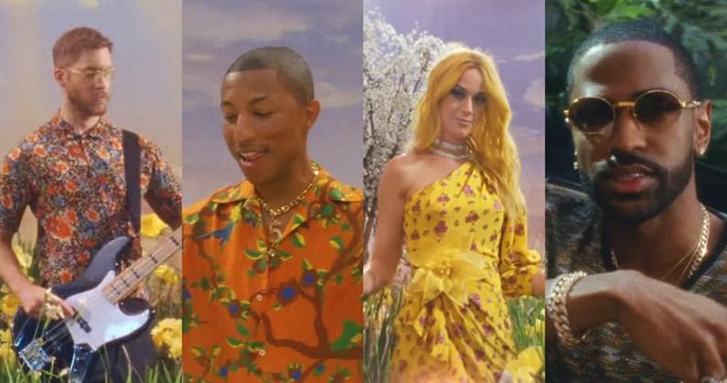 Calvin Harris basszusgitárt penget Katy Perry és Pharrell Williams mellett
